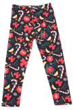 Flat front view image of Buttery Soft Traditional Country Christmas Kids Leggings featuring a lovely holiday themed design consisting of a background the looks like falling snow against a black base decorated with poinsettias, candy canes, cinnamon sticks, red bows, and snowflakes.