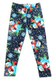 Flat front view image of our Buttery Soft Frosty Blue Snowman Christmas Kids Leggings with a print of snowmen, snowflakes, and falling snow against a deep blue background.