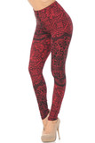Bent knee Left side view image of Buttery Soft Rouge Exquisite Leaf Plus Size Leggings featuring a gorgeous decorative design consisting of lace inspired floral prints that goes with dressy or casual tops  for any season.