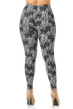 Back view image of Buttery Soft Sassy Lace Print Extra Plus Size Leggings featuring a figure flattering fit.