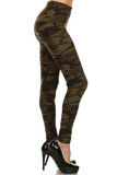 Right side view image of Camouflage Fleece Lined Plus Size Winter Leggings with a classic and trendy olive toned army print design that is always in style.