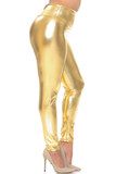 Right side view image gold Shiny Metallic High Waisted Plus Size Leggings