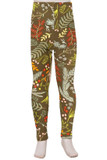 Front view image of Buttery Soft Olive Garden Kids Leggings with a deep brownish green background decorated with a yellow, red, and lighter green floral design.