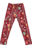 Flat front view image of Buttery Soft Burgundy Christmas Ornaments Kids Leggings featuring a deep red background designed with vertical  decorative stripes, presents, ornaments,, and stars.