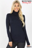 Front view of navy Brushed Microfiber Mock Neck Top