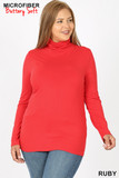 Front of ruby Brushed Microfiber Mock Neck Plus Size Top