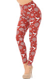 Flat image view of Buttery Soft Jumping Christmas Reindeer Leggings  featuring a red on white reindeer and ornament print with a drop shadow effect that make them pop.