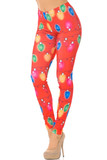Our Ruby Red Colorful Christmas Lights Leggings feature a vibrant look with colorful horizontally strung Christmas lights.