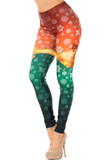 Left side view of Festive Red and Green Split Christmas Bells Leggings with a red upper half, green lower half, separated by golden bells and covered with a snowflake print.
