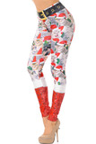 Our super sassy and silly Jolly Christmas Cats and Dogs Leggings feature a collage of cats in santa hats with a faux red glittery boot look that covers the calved, and a glitter printed on black belt design.
