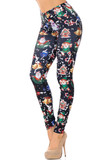 Left side view of Black Wonderful Festive Christmas Leggings featuring a white background with cartoon santa, elves, snowmen, and blue confetti.