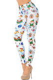 Left side view of White Wonderful Festive Christmas Leggings featuring a white background with cartoon santa, elves, snowmen, and blue confetti.
