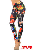 Left view of Everything Christmas Plus Size Leggings featuring a colorful design of bells, santa hats, presents, gingerbread men, and ornaments contrasting a black background.