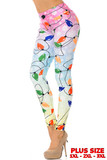 Left side view of our Ombre Christmas Lights High Waisted Plus Size Leggings featuring a pastel hued pink to blue to yellow gradient style background decorated with vibrant colorful holiday string lights.