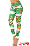 Left side vie of Holiday Festive Green Christmas Garland Wrap Plus Size Leggings with a thick red and white horizontal striped background decorated with festive touched like wreaths, colorful string light, and Christmas cookies.