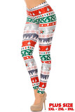 Our Festive Holiday Country Christmas Plus Size Leggings feature a green, red, white, and gray horizontal wrap around bands decorated with Christmas trees, stars, Santa, and turtle doves.