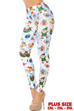 Left side view of White Wonderful Festive Christmas Plus Size Leggings featuring a white background with cartoon santa, elves, snowmen, and blue confetti.