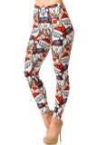 Left side image  view of Creamy Soft Frosty Santa Rudolph Leggings featuring a cartoon style college of iconic holiday faces.