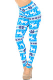 Left side/partial front view image of Buttery Soft Icy Blue Christmas Reindeer Extra Plus Size Leggings - 3X-5X featuring a bright sky blue background decorated with reindeer and a white banded design topped with darker blue snowflakes, and white reindeer.