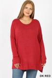 Front view image of Dark Red Brushed Melange Round Neck HI-LOW Plus Size Top