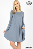 Cement Premium Long Sleeve A-Line Round Hem Rayon Tunic with Pockets