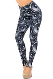 These Creamy Soft Speaker Extra Plus Size Leggings - 3X-5X - USA Fashion™ feature an all over black and gray toned print of circular speakers.