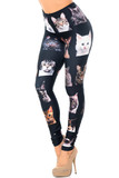 Left side view image of our Creamy Soft Cute Kitty Cat Faces Extra Plus Size Leggings - USA Fashion™ featuring a black background covered with adorable faces of different types of kitties.