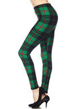 Left view image of Buttery Soft Irish Green Plaid Extra Plus Size Leggings - 3X-5X with a red accent line making them perfect for holidays, but can be worn any season.