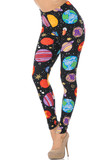 Front view of these stand out Buttery Soft Planets in Space Extra Plus Size Leggings decorated with colorful planets that highly contrast a black fabric base.