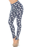 Left side view of Buttery Soft Rustic Hearts Leggings, featuring a repeat pattern of ivory hearts on a navy background that is given visual texture with scratchy ivory horizontal lines.