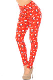Left side view image of our vibrant Buttery Soft Ruby Red Penguins Mistletoe and Snowflake Extra Plus Size Leggings with an adorably festive all over print.