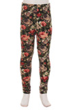 Front view of Buttery Soft Vintage Floral Kids Leggings featuring a muted tone flower design characterized by olive, burgundy, gray, and moacha tones.