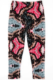 Flat image view of Buttery Soft Abstract Tie Dye Kids Leggings with a pink and bluish gray unique design outlined with brown atop a black background.