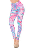 Our gorgeous Creamy Lavender Pink Botanical Garden Extra Plus Size Leggings feature a pink, blue, and purple color scheme with a white abstract flowery design.