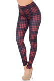 Angled front view of our Creamy Soft 3D Vivid Tartan Leggings featuring a burgundy and black plaid print with a bright red overlay grid design.