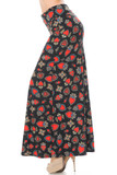 Left side view image of Buttery Soft Jeweled Hearts Maxi Skirt featuring an all over red heart print embellished with decorative and floral borders.