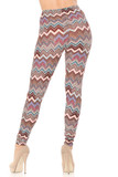 Rear view of our flattering fitted Buttery Soft Earthen Chevron Plus Size Leggings.