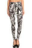Our black and white colored Buttery Soft Wild Safari Leggings feature a mixed animal print design of zebra stripes, cheetah spots, and reptile scales.