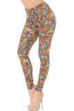 Partial front view image of Buttery Soft Charcoal Rose and Skulls Plus Size Leggings featuring a feature an all over orange and yellow Autumn inspired floral color scheme mixed with sugar skulls against a charcoal background.