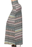 This is our Buttery Soft Tribal Cascade Maxi Skirt with a banded horizontal tribal design that is prominently gray with hints of aqua, yellow, and burgundy.