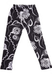 With a neutral black and white color scheme, our Buttery Soft Black and White Elegant Floral Kids Leggings features an illustrated playful style flower design that is perfect for any season.