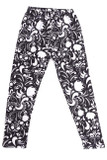 Our Buttery Soft Monochrome Spring Floral Kids Leggings feature a more abstract look with a white on black design that features flower shaped silhouettes and decorative accents.
