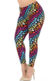 These Buttery Soft Flowing Rainbow USA Stars Plus Size Leggings feature a print of small stars in a rainbow color scheme, with a diagonally alternating multicolor look.