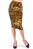 Front view of our Buttery Soft Predator Leopard Skirt featuring black leopard spots on a background of mixed light and darker browns.