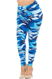 Full length Buttery Soft Blue Camouflage High Waisted Plus Size Leggings.