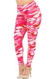Rotated front view of Buttery Soft Pink Camouflage High Waisted Plus Size Leggings.