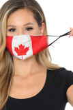 Front view image of Canadian Flag Graphic Print Face Mask showcasing the adjustable ear string sizing.