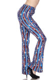 Right side view image of  Buttery Soft Metallic USA Flag Bell Bottom Leggings featuring a printed on shiny American themed streamer with stars look, perfect for Fourth of July.