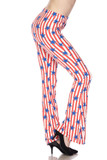 Right view image of our sassy Buttery Soft Vertical Stars on Stripes Bell Bottom Leggings featuring an American flag inspired red and white vertical striped design with blue stars.