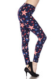 Right side view image of Buttery Soft USA Stars Leggings featuring an american flag print filled star design against a navy background.